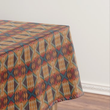 CozyCreekCabin Orange Brown Red Teal Blue Eclectic Ethnic Look Tablecloth