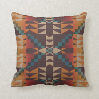 Orange Brown Red Teal Blue Eclectic Ethnic Look Throw Pillow
