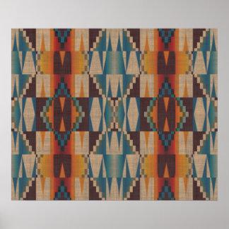 Orange Brown Red Teal Blue Ethnic Tribal Mosaic Poster