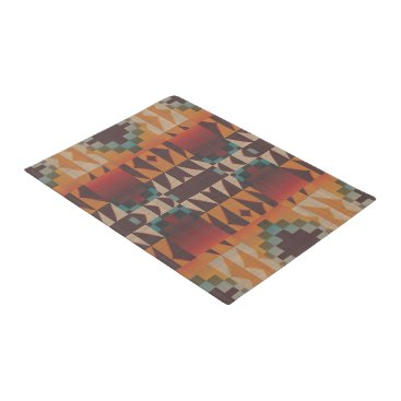 CozyCreekCabin Orange Brown Red Teal Blue Tribal Mosaic Art Doormat
