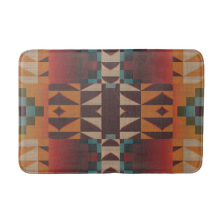 Orange Brown Red Teal Blue Tribal Mosaic Pattern Bathroom Mat
