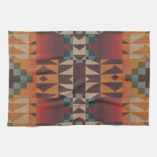 Orange Brown Red Teal Blue Tribal Mosaic Pattern Hand Towels