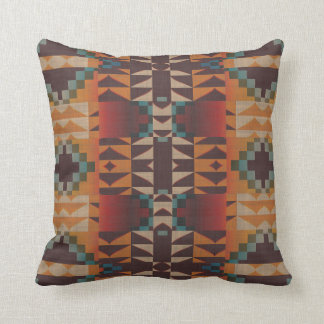 Orange Brown Red Teal Blue Tribal Mosaic Pattern Throw Pillow