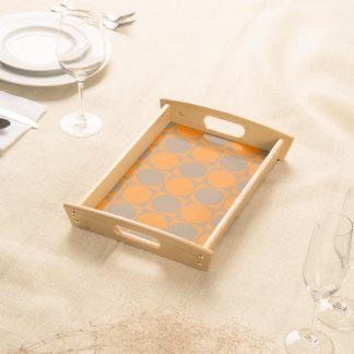 Orange&Brown Squares&Circles Decorative Design Serving Tray