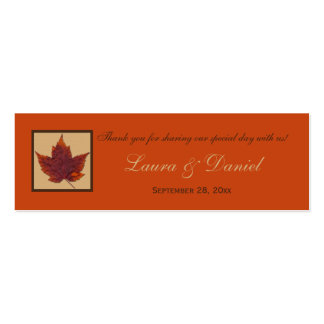 Orange Brown Striped Autumn Leaf Favor Tag Double-Sided Mini Business Cards (Pack Of 20)