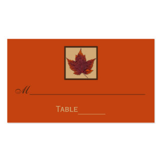 Orange Brown Striped Autumn Leaf Place Cards Double-Sided Standard Business Cards (Pack Of 100)