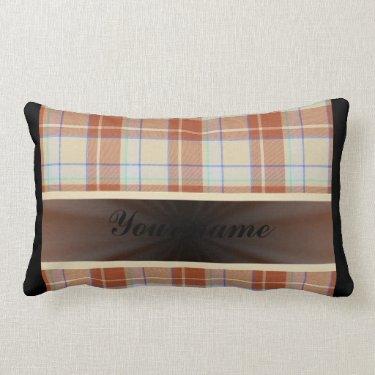 Orange Brown Tartan with Ribbon Throw Pillow