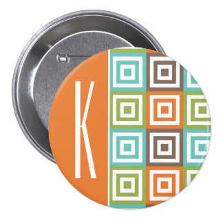 Orange, Brown, Teal, and Green Retro Squares Pinback Buttons