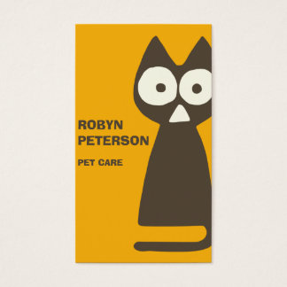 Orange Brown Triangle Symbolic Cat Business Card