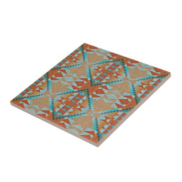 LolasClassyCeramics Orange Brown Turquoise Blue Eclectic Ethnic Look Ceramic Tile