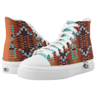 Orange Brown Turquoise Blue Eclectic Ethnic Look High-Top Sneakers