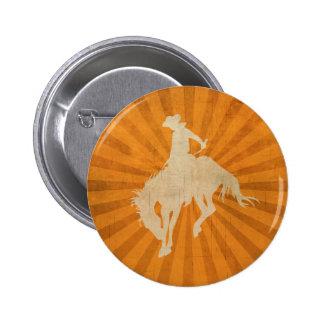 Orange Brown Vintage Cowboy 2 Inch Round Button