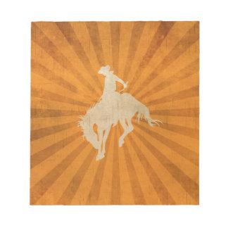 Orange Brown Vintage Cowboy Notepad