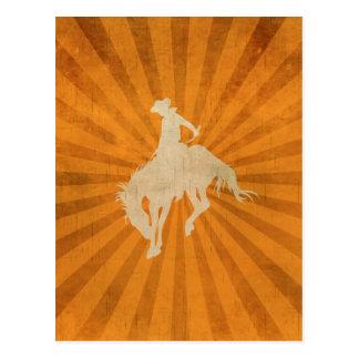Orange Brown Vintage Cowboy Postcard