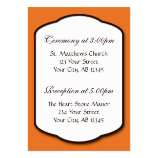 Orange Brown & White Wedding Guest Reference Cards