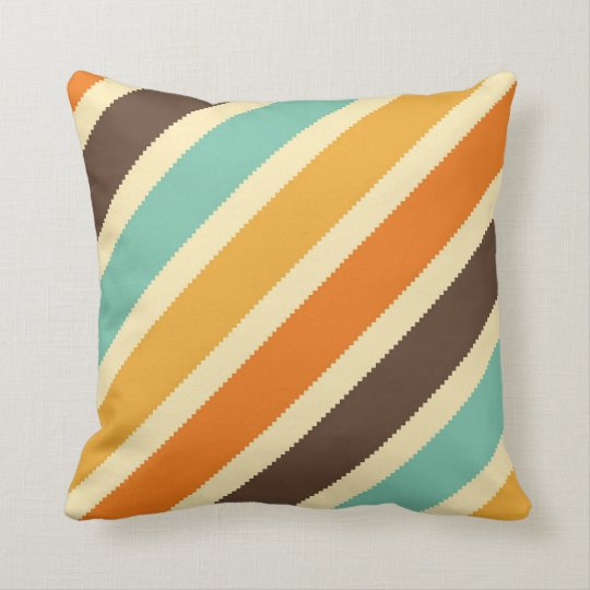 Orange Brown Yellow Blue Diagonal Stripe Pillow Zazzle Com