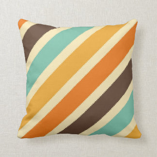 Orange Brown Yellow Blue Diagonal Stripe Pillow