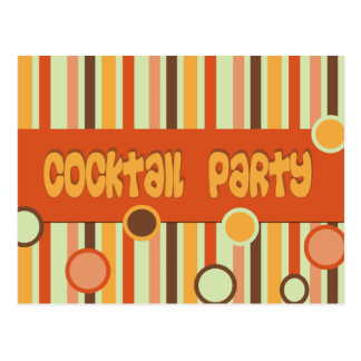 orange brown yellow cocktail party postcard