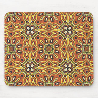 Orange Brown Yellow Green Nouveau Deco Pattern Mouse Pad