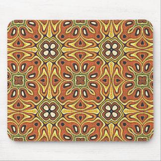 Orange Brown Yellow Green Nouveau Deco Pattern Mouse Pad