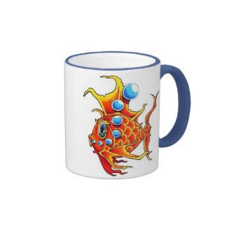 orange bubble fish ringer ceramic mug