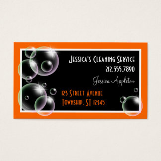 Orange Bubbles Cleaning Service Business Cards