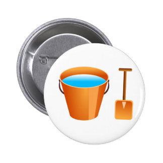 Orange Bucket & Spade 2 Inch Round Button