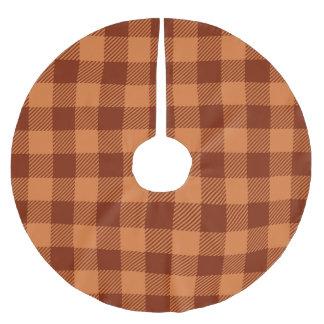 Orange Buffalo Plaid Brushed Polyester Tree Skirt
