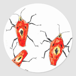 Orange Bugs Classic Round Sticker