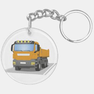 orange building sites truck keychain