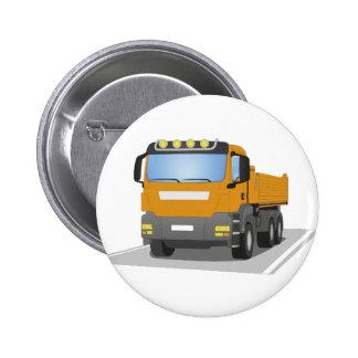 orange building sites truck pinback button