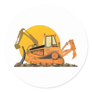 Orange Bulldozer Sun Classic Round Sticker