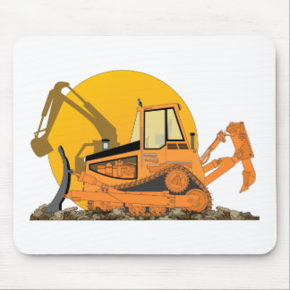 Orange Bulldozer Sun Mouse Pad