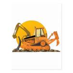 Orange Bulldozer Sun Postcard