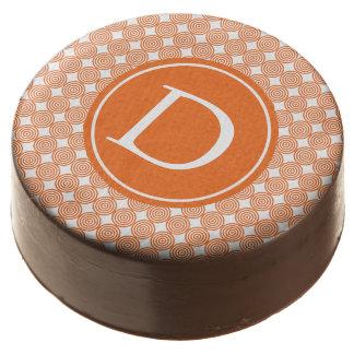 Orange Bullseye Monogrammed Chocolate Covered Oreo