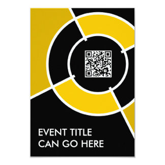 orange bullseye QR code 3.5x5 Paper Invitation Card