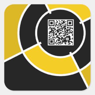 orange bullseye QR code Square Sticker