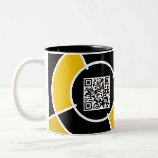 orange bullseye QR code Two-Tone Coffee Mug