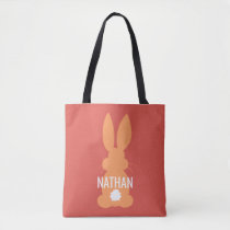 Orange Bunny Silhouette Easter Personalized Kids Tote Bag
