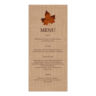 Orange Burlap Monogrammed Menu Custom Rack Cards