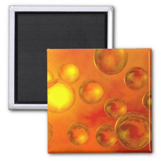 Orange Burst 2 Inch Square Magnet