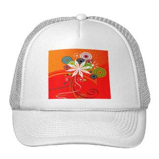 Orange Burst Flowers & Dots Hats