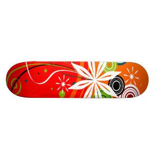 Orange Burst Flowers & Dots Skateboard Deck