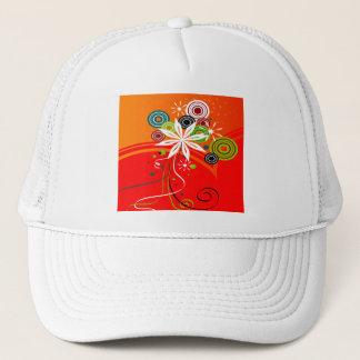 Orange Burst Flowers & Dots Trucker Hat