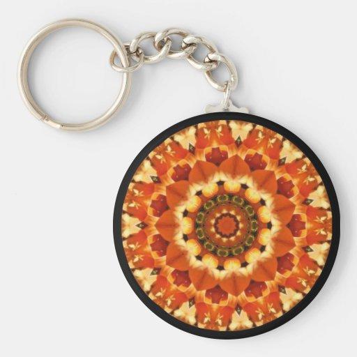 Orange Burst Kaleidoscope Image Keychains