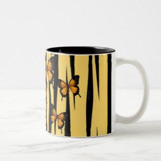 ORANGE BUTTERFLIES AND TIGER PRINT Two-Tone COFFEE MUG