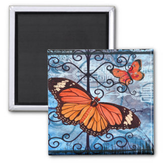 Orange Butterflies Collage 2 Inch Square Magnet