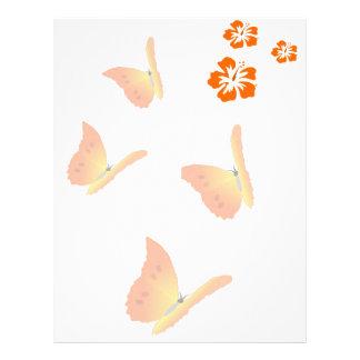 orange butterflies customized letterhead