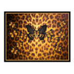 ORANGE BUTTERFLIES ON LEOPARD PRINT POST CARD
