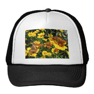 Orange Butterflies on Yellow Coreopsis Trucker Hat